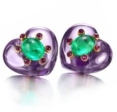 A Pair of Amethyst, Emerald and Ruby Ear Clips, by JAR. Via FD Gallery, www.fd-inspired.com