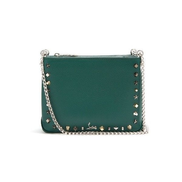 Christian Louboutin Triloubi small leather cross-body bag ($1,550) ❤ liked on Polyvore featuring bags, handbags, shoulder bags, green multi, crossbody shoulder bag, leather crossbody handbags, genuine leather shoulder bag, leather crossbody purse and green shoulder bag