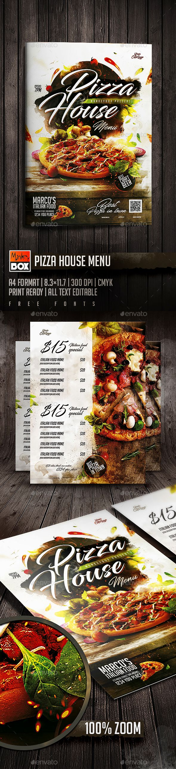 Pizza House Menu — Photoshop PSD #caffe #menu brochure • Download ➝ https://graphicriver.net/item/pizza-house-menu/19667416?ref=pxcr