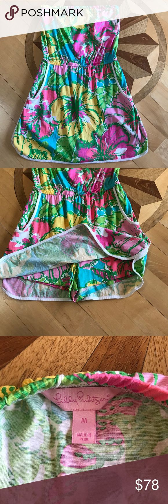 Lilly Tube Top/Skort Medium Adorable Lilly one piece strapless piece with hidden shorts under. Looks like a skirt! Adorable and bright. Worn once. Hung to dry. Size medium, but to me it's not made big. Lilly Pulitzer Other