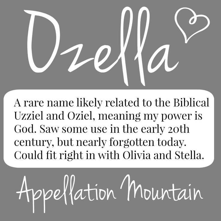 A rare name most likely derived from the Biblical Oziel, Ozella might fit right in with Ella and Stella in 2015.