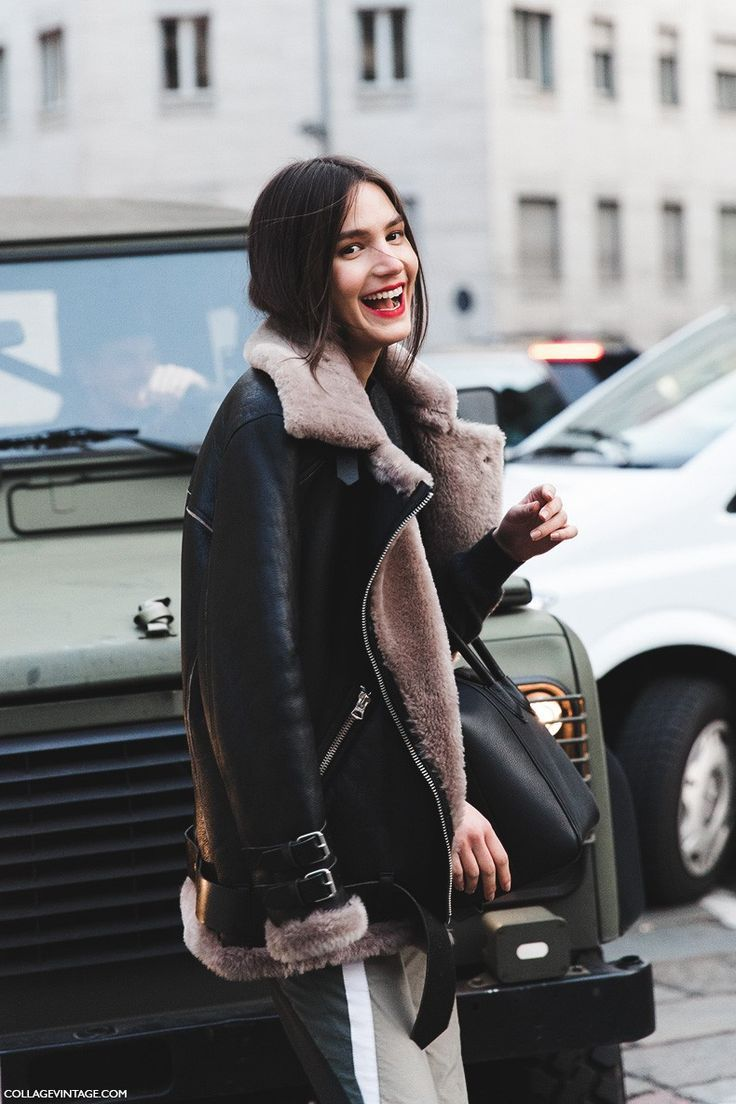 Milan_Fashion_Week-Fall_Winter_2015-Street_Style-MFW-Model-Tops-Balenciaga_Boots-Shearling_Jacket-2