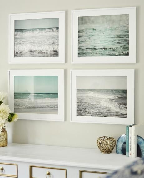 Whether you are drawn to photographs of the ocean or old paintings of sailboats, fill your home with art you love and reminds you of the sea. An interesting quadrant of the ocean shows the many shades and personalities of the water.