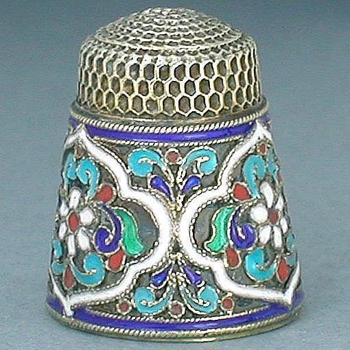 Antique Enamel Silver Thimble (Pre-Revolution Russian Enameled Thimbles, Vintage…