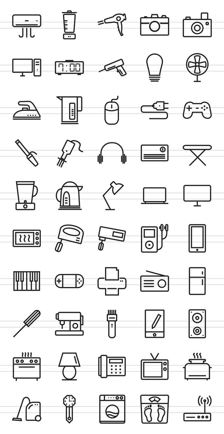 50 Home Electronics Line Icons by IconBunny on Cre…
