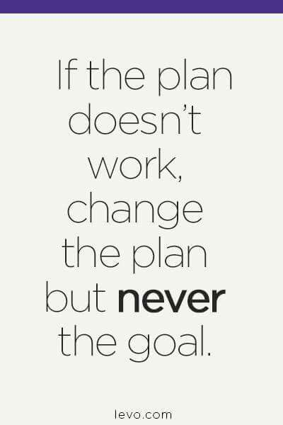 Change the plan, but never the goal. Yep. This is pretty much how I live life.