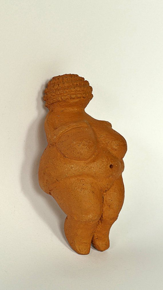 Red Clay Venus of Willendorf Great Mother Female by GlinkaDesign