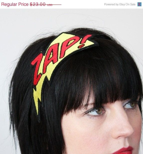 Headband, ZAP, Superhero Headband, Yellow and Red £15.00 GBP  Approximately $24.41 USD