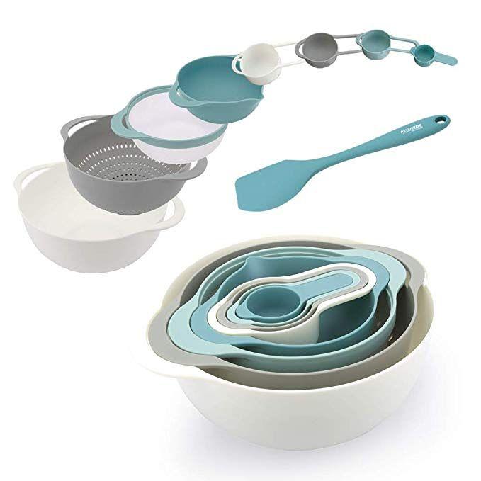 Kalrede Mixing Bowls Set Plastic 9 Pcs Including Silicone Spatula Measuring Spoons Colander Sifter And Co Mixing Bowls Set Mixing Bowls Plastic Mixing Bowls