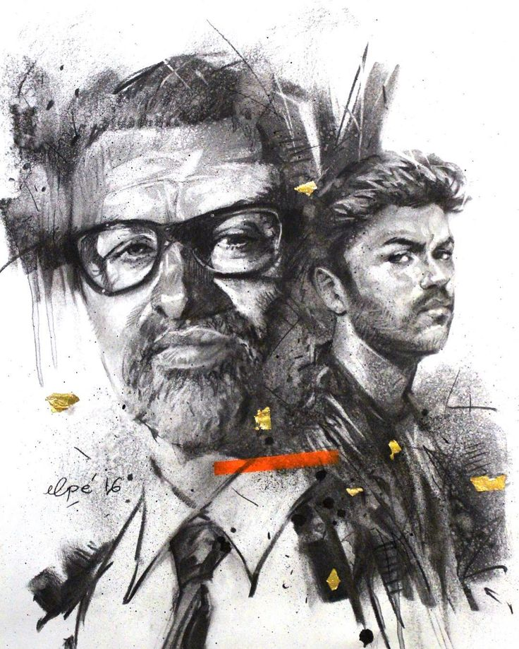Portrait of George Michael drawn by Elpé Charcoal. Beautiful portrait drawing