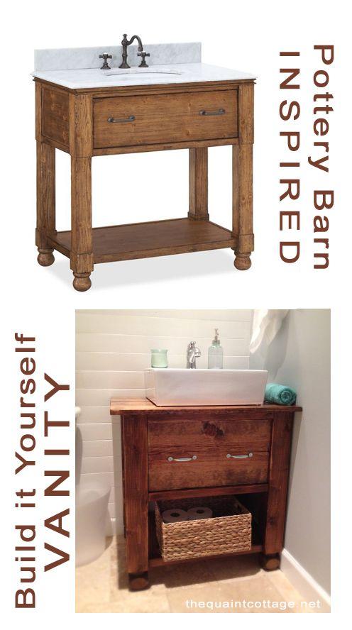 Pattery Barn inspired rustic bathroom vanity plans @Remodelaholic