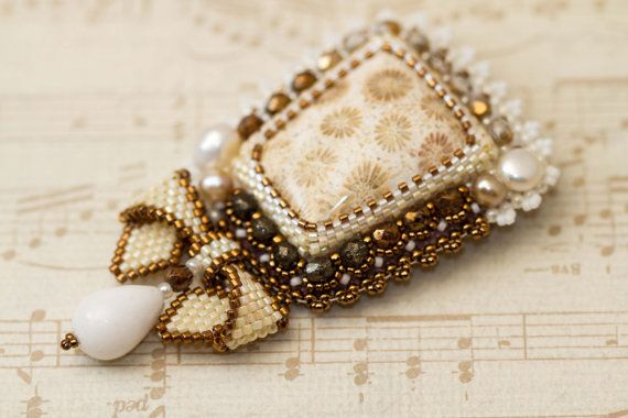 Bead embroidered brooch Ivory brooch Cream brooch Coral by Sofija, $63.00