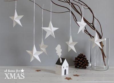 DIY- NoxCreare: Diy: Xmas decor - 3D PAPER STAR - con stampino per biscotti