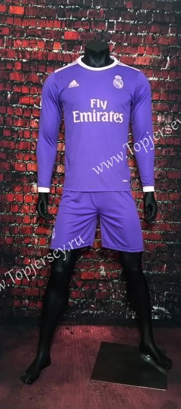 2016/17 Real Madrid Away Purple LS Soccer Uniform-Real Madrid| topjersey