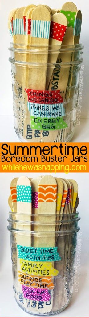 """Washi Tape Summer Boredom Buster Jars will keep your kids busy all summer long! No more """"I'm BOOOORED!"""" Just let them choose an activity from the category you specify and BAM! the kids are entertained. Downloadable 168+ idea booklet too! Add a chore category!! ;-)"""