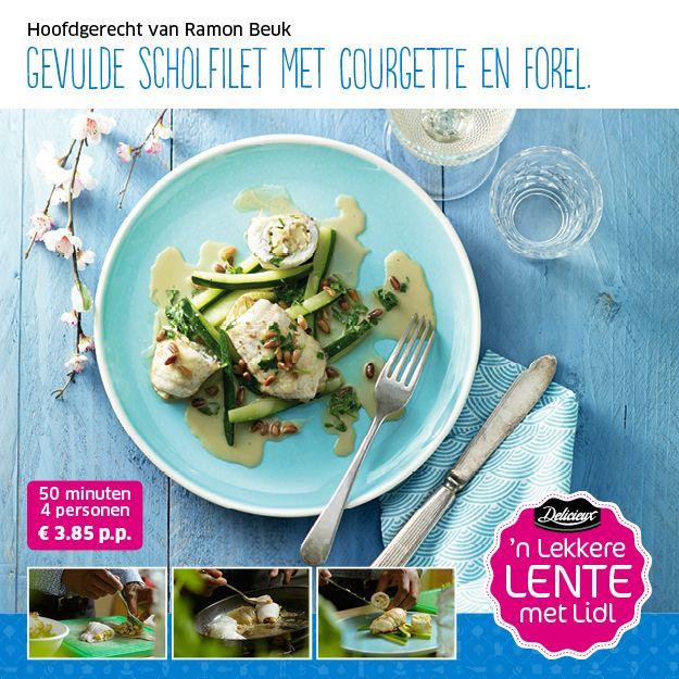 Recept voor gevulde scholfilet met courgette en forel #Lidl #Pasen