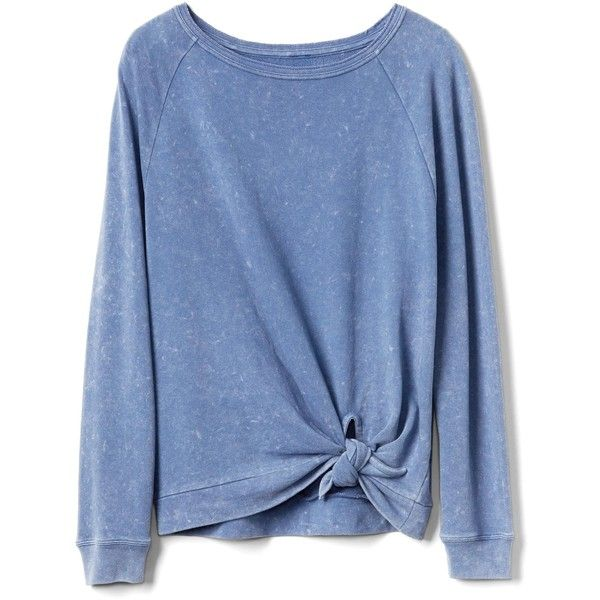 Gap Women Cozy Knot Sweatshirt (155 DKK) ❤ liked on Polyvore featuring tops, hoodies, sweatshirts, shirts, sweaters, long sleeves, blue, extra long sleeve shirts, ruched shirt and gap sweatshirt