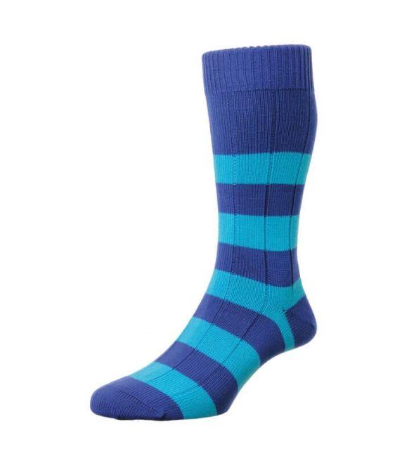 Scott Nichol Mens Ely Cotton Ribbed Socks Rugby Stripe Cotton Rib Socks Rugby Fashion Traditional Socks Weekend Socks