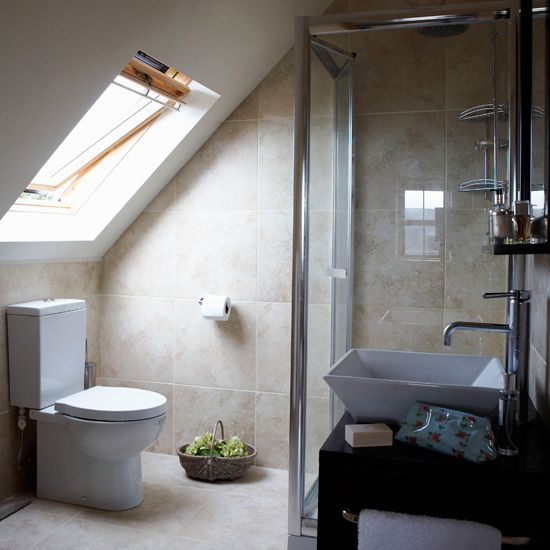 Attic bathroom addition has sloped ceiling to consider