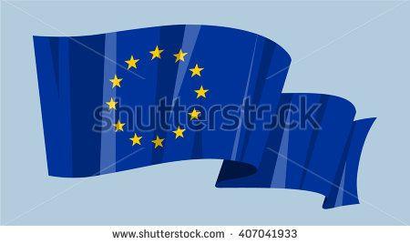 National waving flag vector editable banner ribbon country world EU stars European Union blue flag Europe - stock vector
