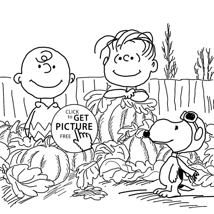 Happy Charlie Brown and pumpkins coloring pages for kids ...