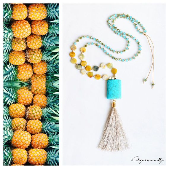 CBN001 - Long boho beaded tassel necklace with turquoise and beige chaolite stones, yellow jasper stones and turquoise crystals.