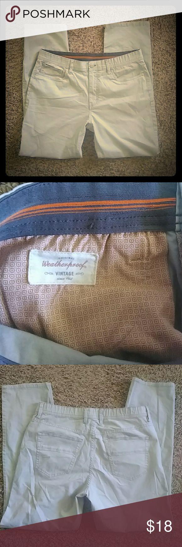 Mens Vintage Weatherproof Pants Nice men's casual pants.....Flat front, no stains, 34Wx30L.  Questions? Offers?  Give me a shout...... weatherproof vintage Pants Chinos & Khakis