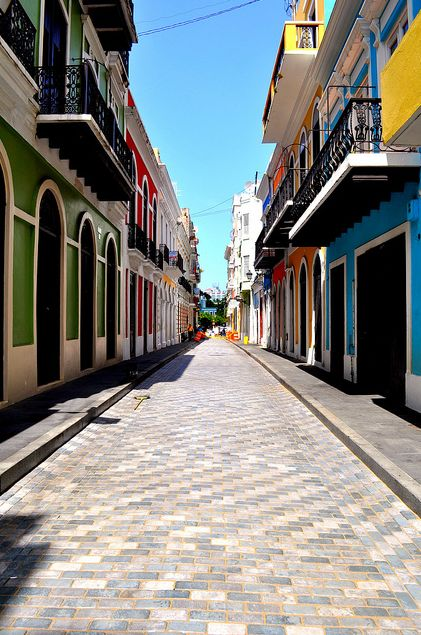 San Juan. Hubby & I traveled there years ago. Have a pic of us on this very street in Old San Juan. Awesome city !