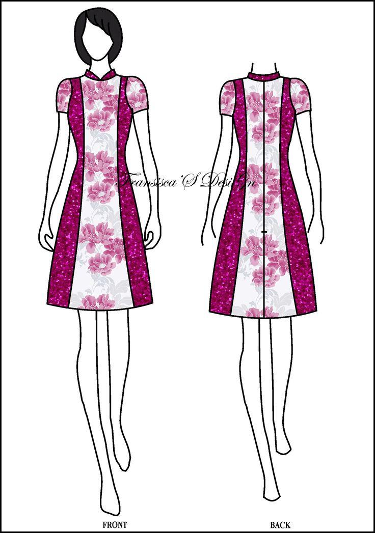 Dress A-line pias krah Shanghai.  #FashionDesigner #Butik #OnlineShop #DesainBajuBusanaWanita #Sketsa #Sketch #Modern #Casual #Trend #Blouse #Dress #Skirt #Hem #Batik #SoloBaru #Sukoharjo #Surakarta #JawaTengah #HP:085226138628 #PinBB:5176EF34