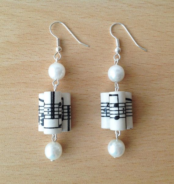 Music Notes paper bead earrings with pearls by MagdaCrafts on Etsy