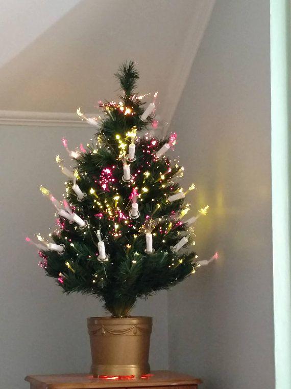 Fiber Optic Christmas Tree Tabletop Pre Lit Candles Lights