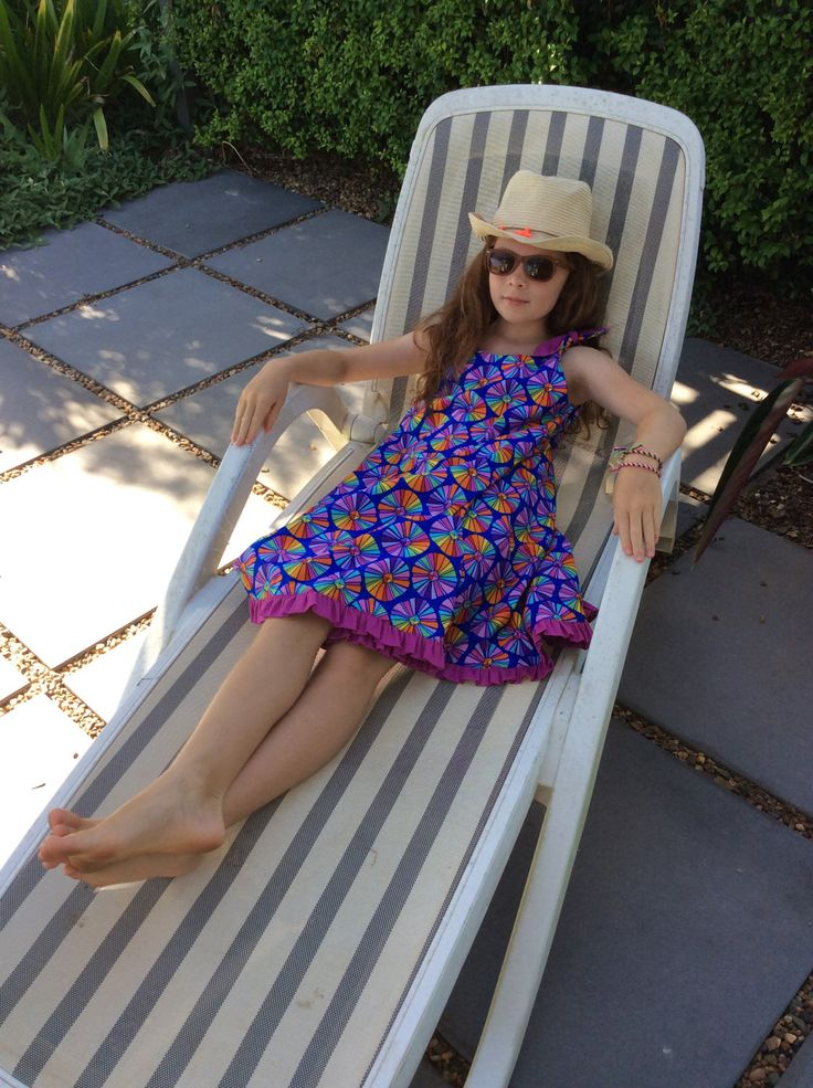 Tweens sun dress in multi coloured print with fuchsia frill by VSLFashions on Etsy