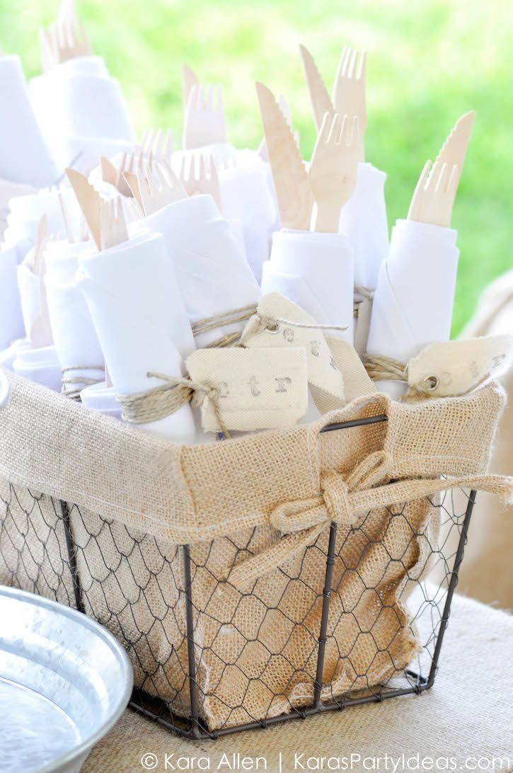 Kara s party ideas rustic country barn wedding party ideas supplies - Napkins And Wooden Utencils At A Chalk Chalkboard And Burlap Themed Baptism Luncheon Party Find This Pin And More On Rustic Party Ideas