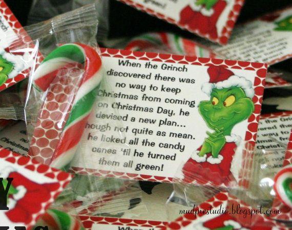 Grinch Christmas Treat Bag Topper Label Por