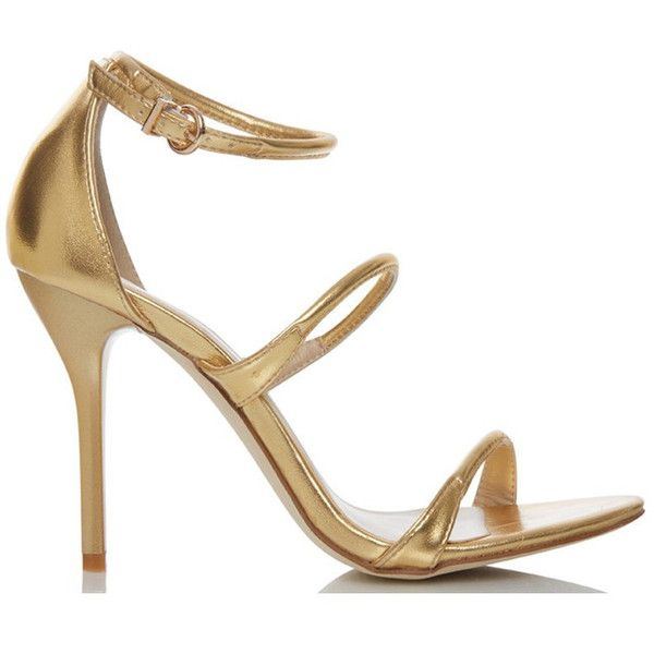 Fiebiger shoes goldmember gold strappy high heels (€100) ❤ liked on Polyvore featuring shoes, sandals, gold strappy sandals, gold sandals, strap sandals, ankle strap shoes and gold high heel shoes