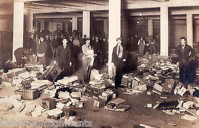 POST OFFICE PACKAGE MAIL SORTING ROOM UNUSUAL ANTIQUE PHOTOGRAPH ON BOARD