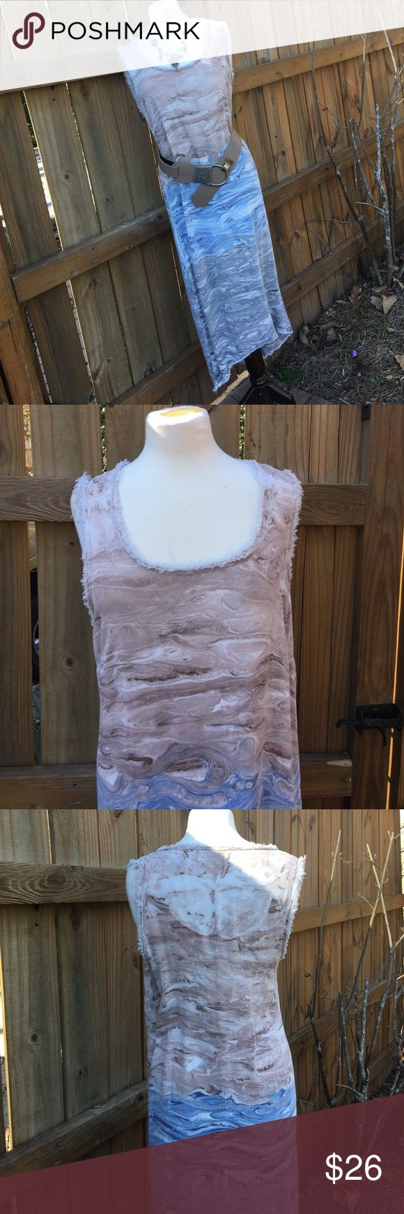 "NWT Boutique Maxi Gorgeous boutique dress for a night out, around town or at the beach - beautiful swirls of blue, grey, brown, beige and white.                                    Measurements for a S - B is 36-38"", W is 34"" and L is 48"" in front and 53"" in rear.                                      Material is 100% rayon Boutique Dresses Maxi"