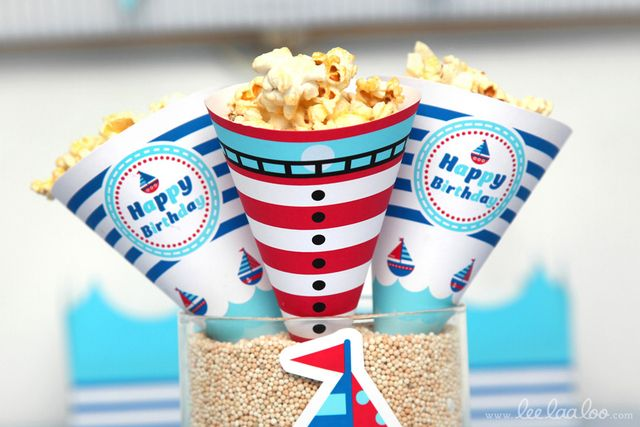 Popcorn at a Nautical Party #nautical #party