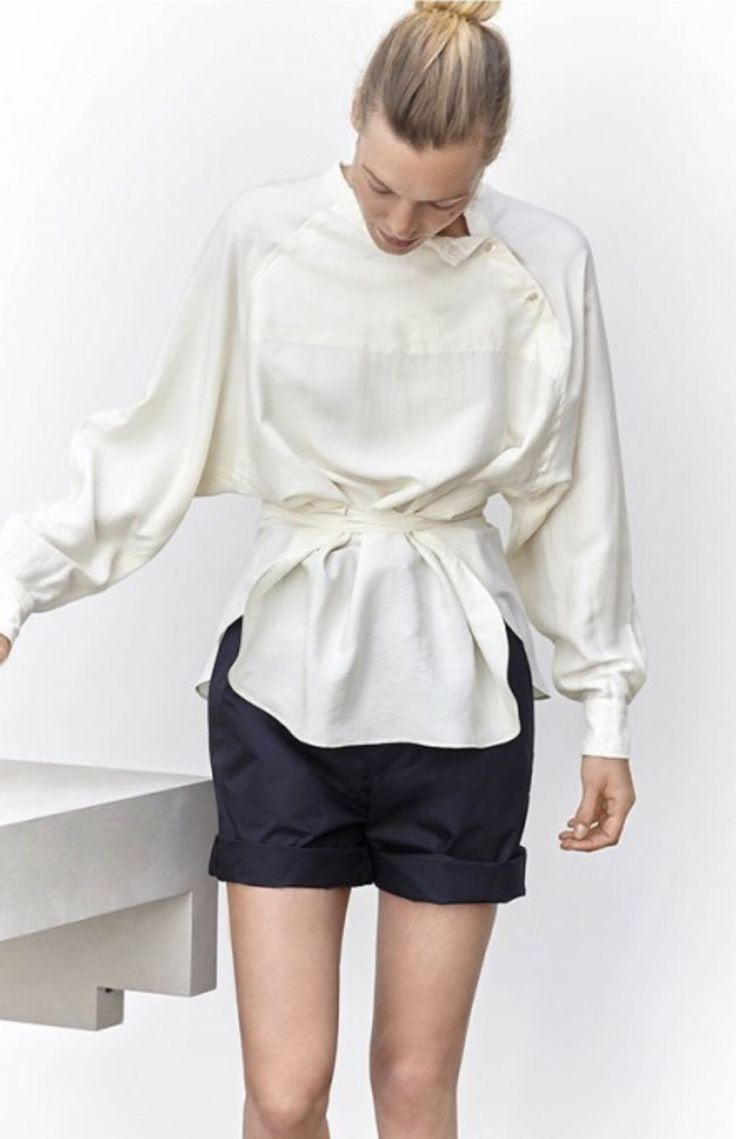 Contemporary Fashion - chic white shirt & black shorts // Isabel Marant Spring 2016