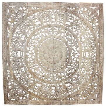 Lotus Wall Panel 3D Design Teak 48x48x1 inch w White Stain Sand Wash and Nat Wax tropical-wall-sculptures