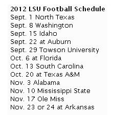 2012 LSU Football Schedule-getting ready!!