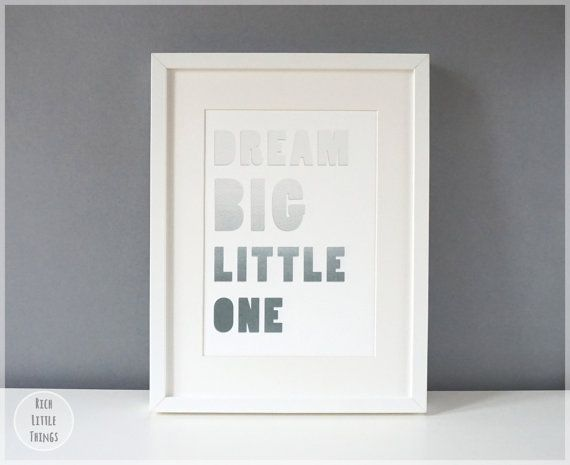 Dream Big Little One  A5  Grey Ombre  Nursery by RichLittleThings