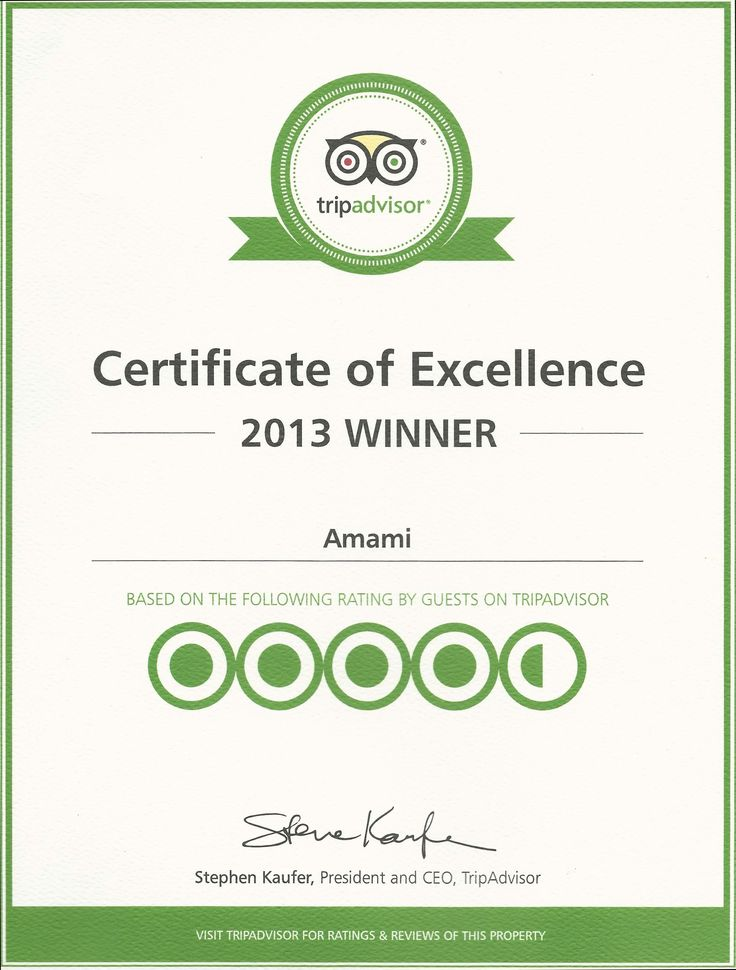 Trip advisor Certificate of excellence 2013