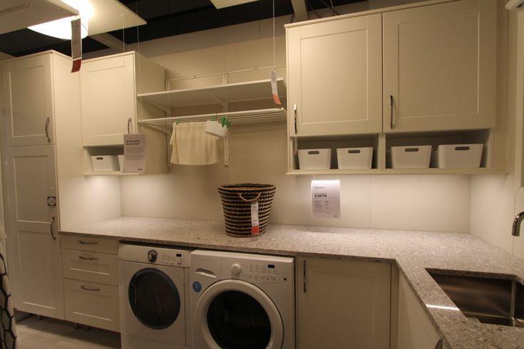 IKEA laundry, algot frames hanging and shelf, shaker style cupboards : passionatepennypincher  #laundry