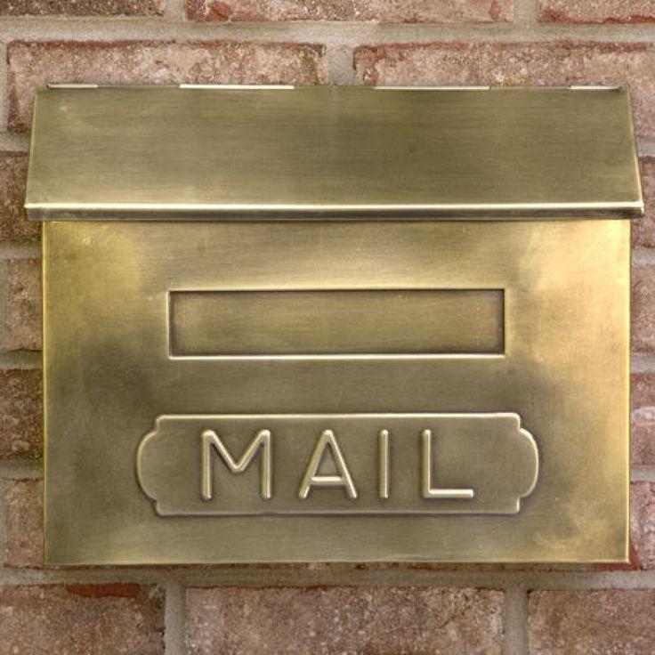 """Horizontal """"MAIL"""" Wall-Mount Brass Mailbox - Antique Brass"""