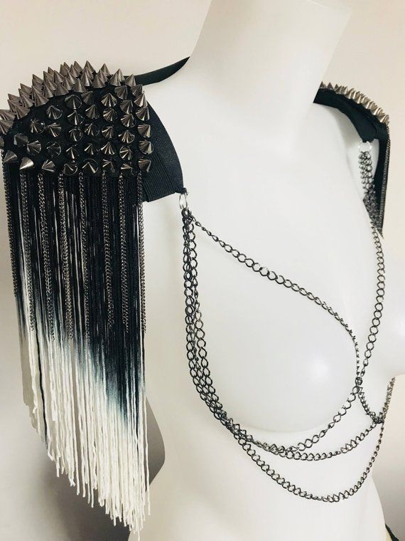 Silver Rhinestone Spiked Tassel festival tassel Epaulets Shoulder Pads DIY