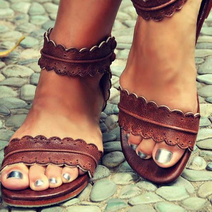 #AdoreWe #DressWe DressWe Open Toe Brown Womens Flat Sandals - AdoreWe.com