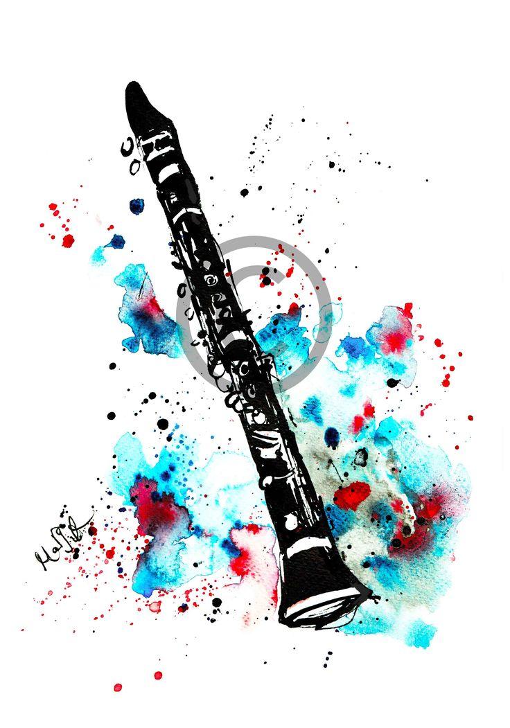 clarinet illustration drawing music