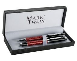 Luxusná písacia súprava s červeným karbónovým motívom
