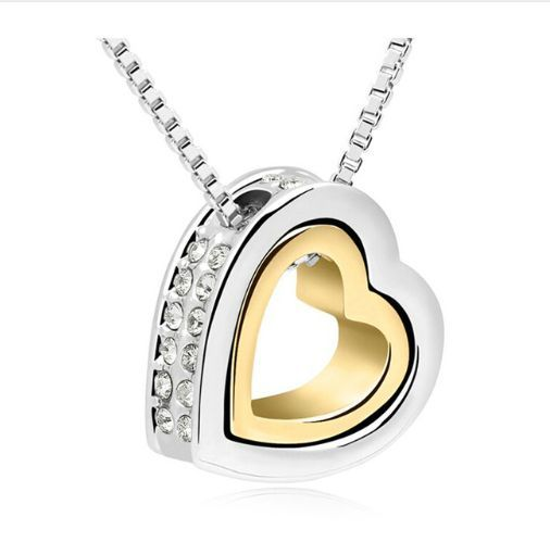 Double Heart Necklace for Women in Silver & 18K Gold Plated with Rhinestones